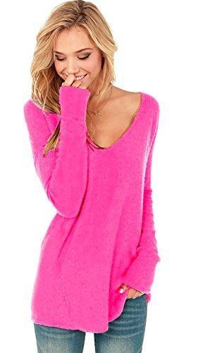 Mikos Damen V-Ausschnitt Lose Langarm Oberteile Frühling Strickpullover Oversize Lang Sweatshirt Tops (652) (L/XL, Neon Rosa)