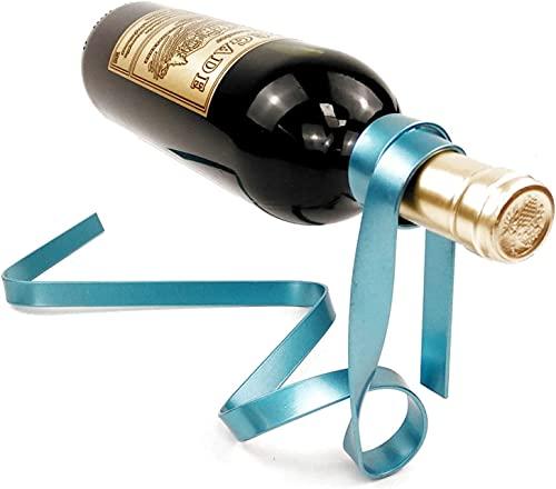 Soporte para botellas de vino suspendido, soporte para botellas de vino flotante antigravedad para botella individual de mesa y vino, para decoración de oficina y hogar (color azul)