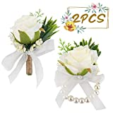 JOHOUSE 2Pcs Rose Wrist Corsage Wristlet Band Bracelet and Men Boutonniere Set,Groom Groomsman Best Man and Girl Brides Wedding Flowers Accessories Prom Suit Decoration,White
