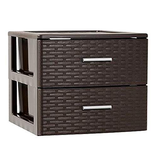 Plastic Forte - Cajonera de ordenación con 2 cajones de plástico efecto mimbre 31,5 x 39,5 x 36,5 cm. Torre de almacenaje multiusos, organizador auxiliar, almacenamiento, baño (2 cajones, Wengue)