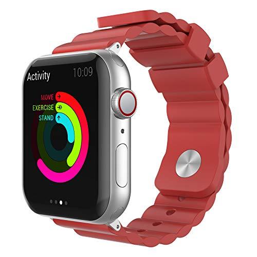AHASTYLE iWatch Armband Silikon Ersatzriemen Kompatibel mit Apple Watch 38 mm, 40 mm, 42 mm, 44 mm, iWatch Serie 5 (2019), Serie 4, Serie 3, Serie 2, Serie 1 (42/44mm, Rot)