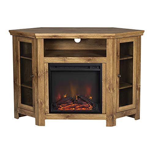"""Walker Edison Furniture Company Tall Wood Corner Fireplace Stand 52"""" Storage Cabinets Flat Screen Universal TV Console Living Room Shelves Entertainment Center, 48 Inch, Brown"""
