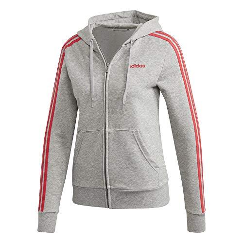 adidas Damen W E 3S FZ HD Sweatshirt, medium Grey Heather/Core pink, XS