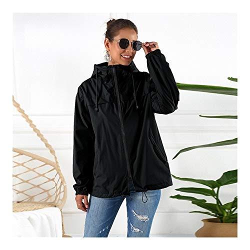 Vrouwen Waterdichte Regenjas Windjack, Lichtgewicht Outdoor Hooded Regendicht Jacket For Cycling Walking Reizen Casual Stijl (Color : Black, Size : M)