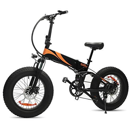 SDU Folding Electric Bike 500W SDREAM S500, Full Suspension Foldable Ebike for All Terrains Beach Mountain Snow Urban, 20 Inch Wheel 4.0″ Fat Tire, 20Mph Max 500W Motor 48V/10.4Ah (Black)
