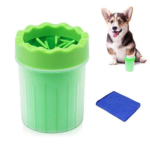 WELLXUNK Haustier Pfotenreiniger,Pfotenreiniger aus Silikon,Tragbarer Hunde Pfote Reiniger mit Handtuch für Hunde Katzen Massage Pflege Schmutzige Klauen (Grün S)