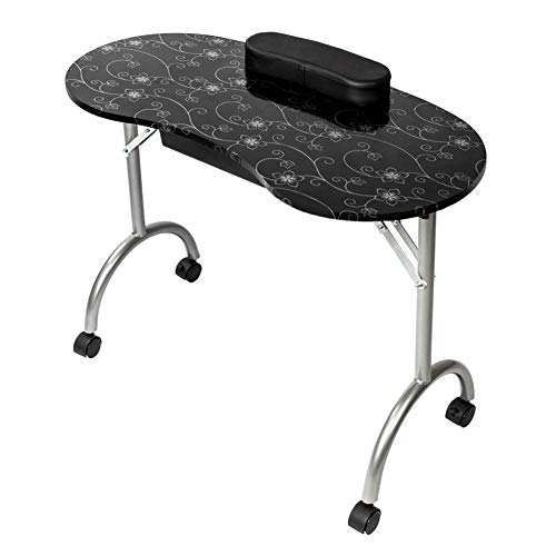 Nail Table Portable & Foldable Nail Art Desk Workstation with Rolling Wheels Wrist Pad Carry Bag Manicure Table for Spa Beauty Salon (Black)