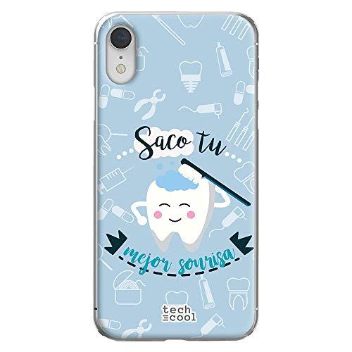 Funnytech® Funda Silicona para iPhone XR [Gel Silicona Flexible, Diseño Exclusivo] Profesiones Dentista Saco tu Mejor Sonrisa Vers.2 Fondo Azul