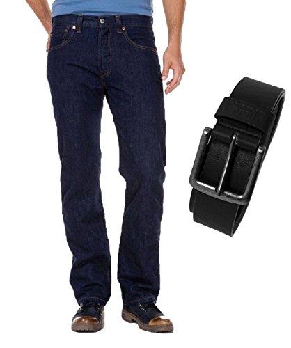 Levi's® 501® Jeans - Regular Straight Fit - Stonewash - Onewash - Marlon Wash - Black - Light Broken In mit Urban Classics Gürtel, Größe:W 40 L 32, Wash:onewash (00501-0101)
