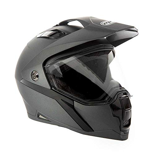 MMG Helmet Dual Sport Off Road Motorcycle Dirt Bike ATV, Flip-Up Visor (MGAH23) (Matte Gray, X-Large)
