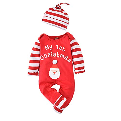 Infant Baby Boys Girls My First Christmas Outfit Xmas Romper Elf Onesie Santa Clothes (Red, 3-6 Months)