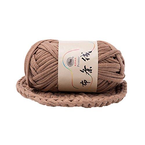 preliked Hand-Knit Woven Thread Thick Basket Blanket Braided DIY Crochet Cloth Fancy Yarn (Light Coffee)