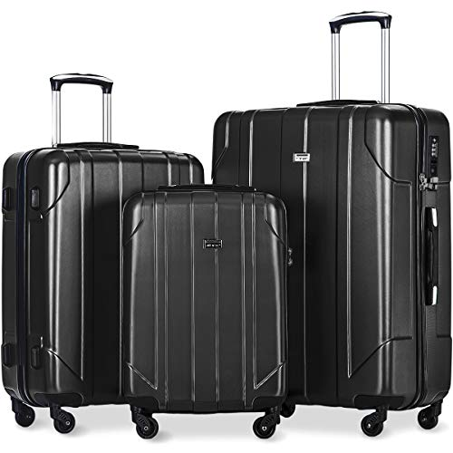 Merax 3 Pcs Luggage Set with Built-in TSA Lock, Eco-friendly P.E.T Light Weight Spinner Suitcase Set (black1)