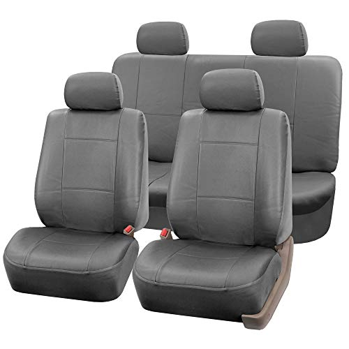 FH Group Universal Fit Seat Cover - Faux Leather (Gray) (Full Set with 4 Headrest Covers Solid) (PU001SOLIDGRAY114)