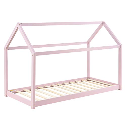 ArtLife Kinderbett Carlotta 90 x 200 cm mit Lattenrost und Dach - Hausbett aus Massivholz - Bett in Rose