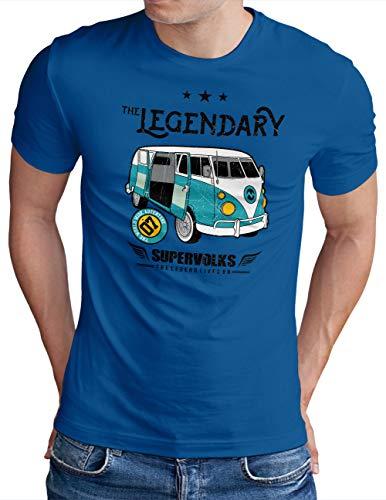 OM3® The Legendary Bus T-Shirt - Herren - Adventure Classic Car Retro - Royal Blau, M