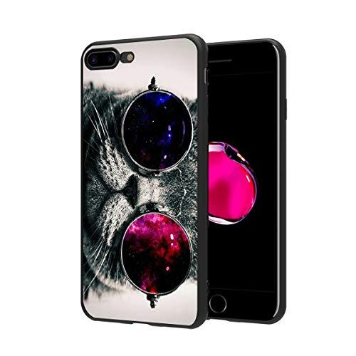 ZhuoFan Funda iPhone 8 Plus, iPhone 7 Plus Cárcasa Silicona Negra con Dibujos Diseño Suave TPU Antigolpes de Protector Piel Case Fundas para Movil Apple iPhone8Plus / iPhone7Plus, Gato 3
