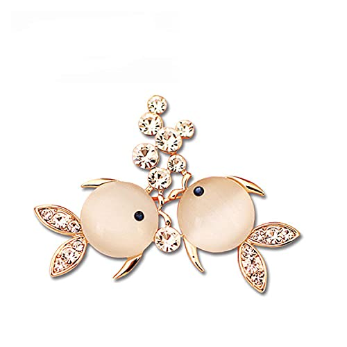 Fashion Opal Goldfish Broche, Broche Pescado Pequeño Rhinestone Pines Lindo Forma Animal Broches Para Mujer Decoración
