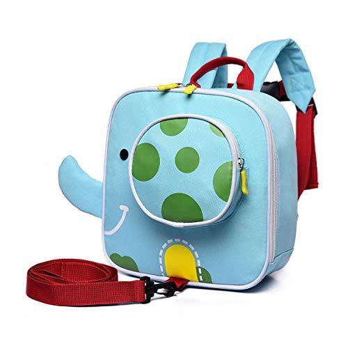 TENDYCOCO 1 stück Kinder Sicherheit Schultasche Cartoon Elefant Anti verloren Rucksack Kindergarten Rucksack Vorschule Tasche mit sicherheitsgurt (blau)
