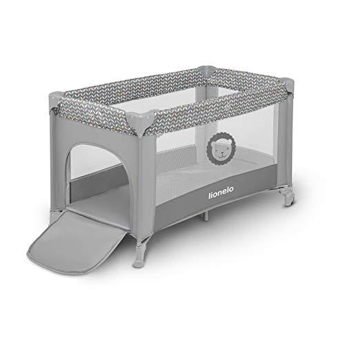 Lionelo Adriaa Baby Bett Laufstall Baby Reisebett Baby ab Geburt bis 15kg Seiteneingang Lockguard System und Blockade der Räder Moskitonetz Tragetasche zusammenklappbar (Grau) - 4