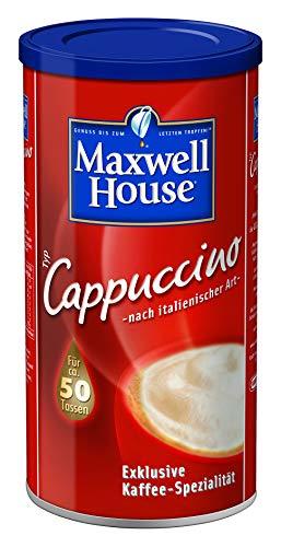 Maxwell House Cappuccino löslicher Kaffee, 500g, Instant Pulver, cremig leckerer Cappuccino mit aromatischer Kaffeenote, für ca. 50 Tassen