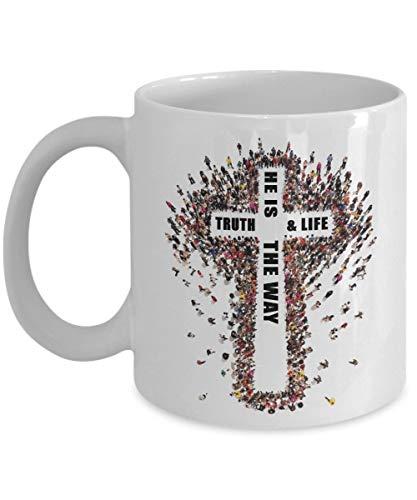 N\A Yo Soy el Camino y la Verdad y la Vida - Juan 14 6 - Tazas Blancas para té Principal, café - Gran Regalo para Pareja, Esposo, Esposa C