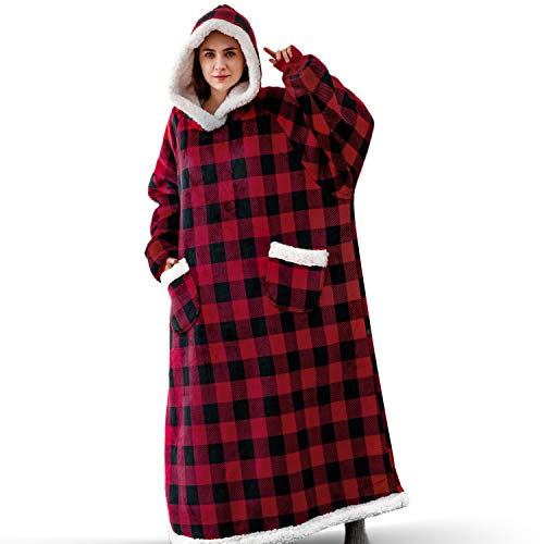 Bedsure Long Wearable Blanket  Sherpa Blanket Hooded  Standard Blanket Sweatshirt with Deep Pockets and Sleeves for Adults Red Plaid