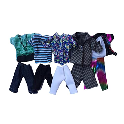 Doll Clothes, Doll Toy Clothing Summer Sport Fashion Shirts and Shorts for Ken Doll Toy Doll Random Style 5set