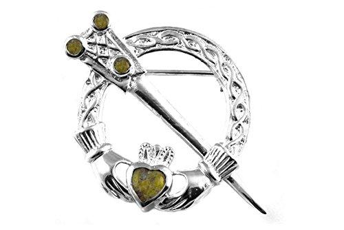 Irish Celtic Desire Silver Jewellery Brosche Tara Connemara Marble