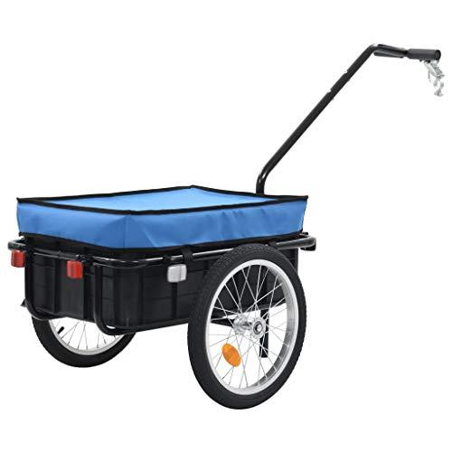 vidaXL Fahrradanhänger Handwagen Lastenanhänger Anhänger Transportkarre Transportanhänger Radanhänger Gepäckwagen 155x61x83 cm Stahl Blau 50/70 kg