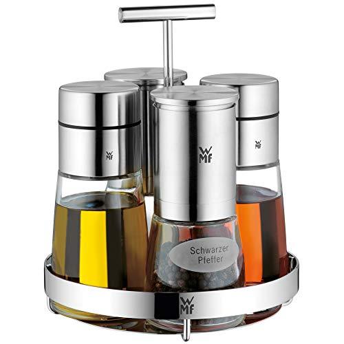 WMF De Luxe 5-delige set voor zout, peper, azijn, olie, standaard met 2 azijn-/oliedispensers, zoutmolen, pepermolen, vaatwasmachinebestendig