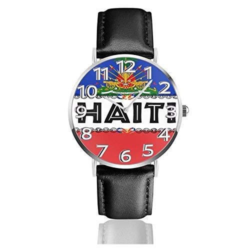Reloj de Pulsera Día de la Bandera de Haití Correa de Cuero PU Duradera Relojes de Negocios de Cuarzo Reloj de Pulsera Informal Unisex