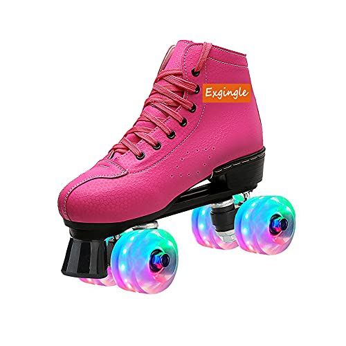 Womens Derby Roller Skates Light Up Wheels Outdoor Sneaker Skates for Teens and Youth Florescent Canvas Adjustable Double Row Roller Skates Wheels