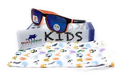 VENICE EYEWEAR OCCHIALI Gafas de sol Polarizadas para niño o niña - deportiva - protección 100% UV400 - Disponible en varios colores (Negro - Naranja)