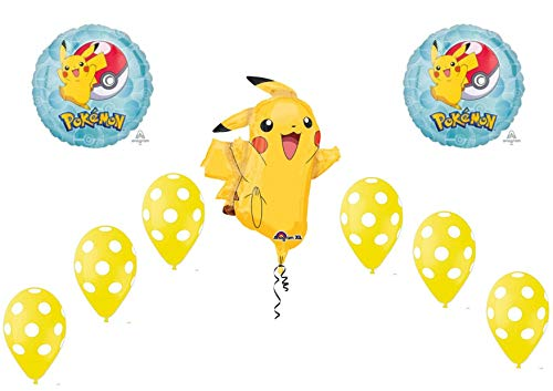 Pokemon Pikachu Supershape Set Bouquet CENTROTAVOLA Sula O Elio - CDC - (2 luchtballonnen Foil,1 Supershape, 10 ballonnen Pois)