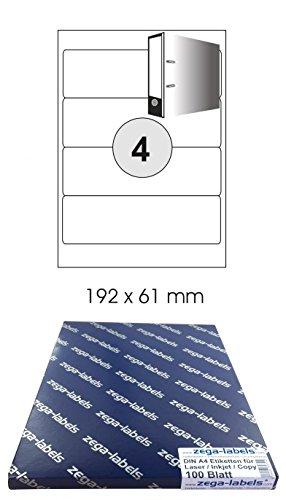 400 Ordnerrücken-Etiketten 192 x 61 mm selbstklebend auf DIN A4 Bögen (1x4 Etiketten) - 100 Blatt Pack - Universell für Laser/Inkjet/Kopierer einsetzbar - 192x61mm 4-teilig