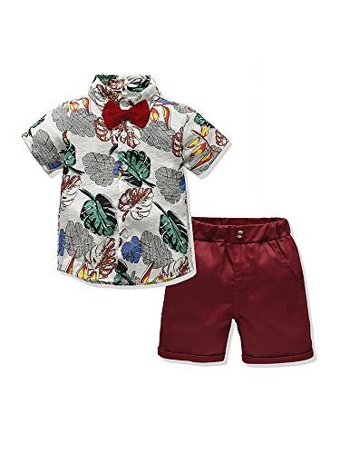 2 Piezas Traje de Caballero para Bebé Niños Conjunto Informal Camisa de Manga Corta con Lazo y Estampado de Hojas + Pantalones Cortos de Color Sólido para Playa Viaje (Beige, 3-4 Años)