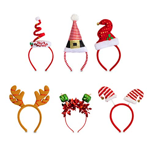 Christmas Headbands - 6-Pack Holiday Party Accessories, Festive Photobooth Props and Decoration, 6 Assorted Designs Including Reindeer Antler, Elf Hat, Santa Hat, For Adults