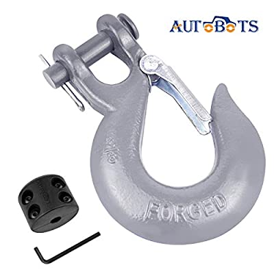 AUTOBOTS Grade 70 Latch Clevis Slip Hook & Winch Cable Hook Stopper Sets with Heavy-Duty Forged Steel 3/8
