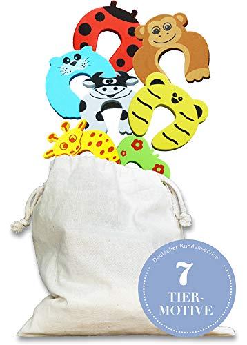 ROSENFELD - Klemmschutz/Türstopper aus Schaumstoff für Baby & Kinder. Optimale Kindersicherung als Fingerklemmschutz für Türen & Fenster. Baby Sicherheit Set bestehend aus 7 Stoppern im Tierdesign