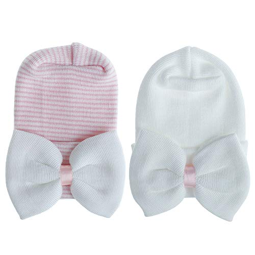 MASOCIO Gorro Bebe Recien Nacido 0-3 Meses Invierno Algodon Punto Gorros Sombrero Bebé con Bowknot Blanco Rosa (Paquete de 2)