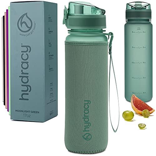 Hydracy Bottiglia d'Acqua Grande Senza BPA - 1 Litro con Linee Marcatempo - Filtro Infusore Aromatizzante per la Palestra - Ideale per Chi Fa Fitness o attività all'Aria Aperta - Moonlight Verde