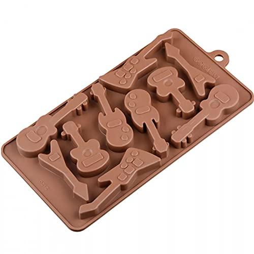 HGFJG 10 Hohlraum Gitarre Form Schokolade Silikonform Kuchen Dekorieren Werkzeuge Mousse Dessertform Gitarre Kuchenform Schokoladen-Backformen Dessert