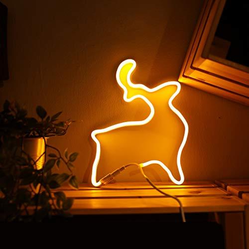 Neon-Lichtschild-Form, selbstfixiert, LED-Lichtband, wiederholbar, faltbar, verschiedene Formen, leuchten für Kinderzimmer, Bar, Wand, Party, Urlaub, unterstützt Batterie und USB (gelbes Licht)
