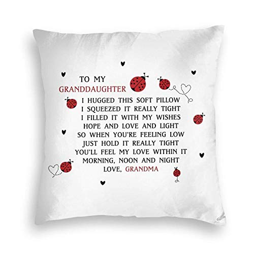 Yuanmeiju to My Granddaughter Design Velvet Throw Pillow Cover Cozy Square Throw Pillow Case Home Decorative for Bed Couch Sofa Living Room Cushion Cover 18'X18'
