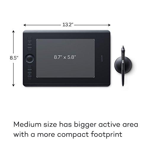 Wacom Intuos Pro Stifttablett Größe M, Grafiktablett (inkl. Pro Pen 2 Eingabestift mit verschiedenen Spitzen, geeignet für Windows & Apple)