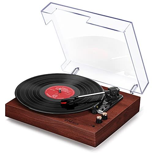 Tocadiscos de Vinilo Vintage, VOKSUN Tocadiscos Bluetooth con 2 Altavoces Incorporados, Reproductor de 3 Velocidades 33/45/78 RPM, Transcripción de Vinilo a Digital/RCA/USB/AUX(Color Nogal Roj
