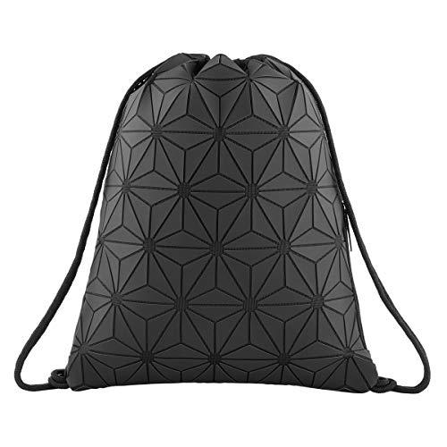 Geometric Lingge Drawstring Bag Luminous Gym Bag Sport Backpack Black Leather Shoulder Bags Travel College Rucksack for Women Men(Black)