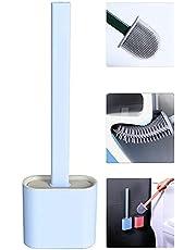 Shamdon Home Collection Platte siliconen toiletborstel met houder, flaxible silicium toiletborstel en houder set voor badkamer