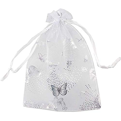 SYUN 100 Piezas 9X12Cm Mariposa Organdí Joyas Bolsa de Regalo Bolsita de Caramelo CordóN de la Boda Bolsas de Favores Blanco